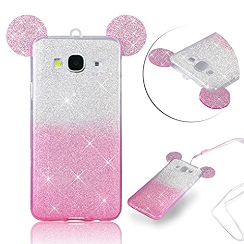 For Galaxy J3 2016 Case [Slim & Lightweight],Vandot Flexible Soft TPU Bling Glitter Cover,Drop Protection Scratch Resistant Practical Back Cover Case For Samsung Galaxy J3 SM-J320F-Gradient Pink 3D Cartoon Mouse Ear+Neck Strap Lanyard