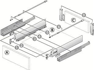 Hettich Innotech 470MM (30kgs) Full Extn. Silent Pot & Pan Drawer System with railing