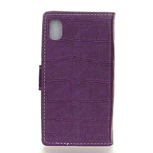 Meimeiwu Custodia iPhone 8 - PU di Lusso Portafoglio con Fessure di carta Cover Protettiva Per iPhone 8 - Nero Porpora