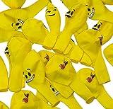 HomeTools.eu - 33 Stück Smiley Luft-Ballons | lustige Freche Emoji Gesichter aufblasbar 30cm | Deko Party Fasching Kinder-Geburtstag | Gelb 33er Pack Vergleich
