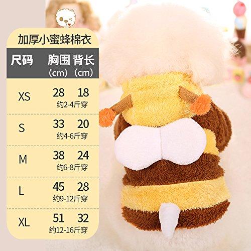 (Y-Hui der Hund im Winter Kleidung Taktik verdickte Biene Kostüm kleiner Hund Bichon Welpen Haustier Herbst Winter Kleidung Vip, Xs)