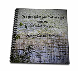 3dRose db_127862_1 Thoreau Quote a Lake Scene Photo with a Thoreau Quote Drawing Book, 8 by 8-Inch