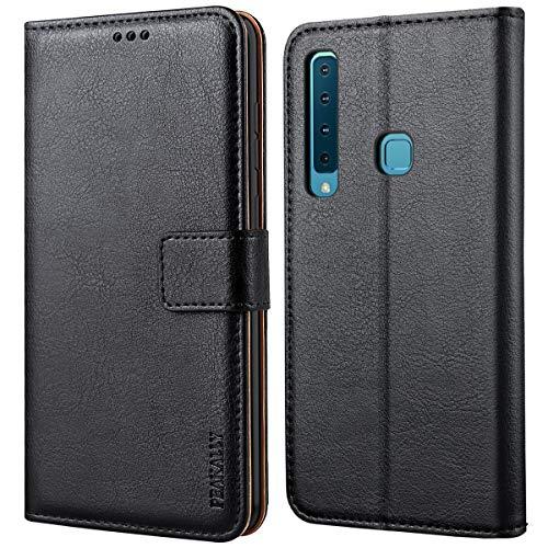 Peakally Samsung Galaxy A9 2018 Hülle, Premium Leder Tasche Flip Wallet Case [Standfunktion] [Kartenfächern] PU-Leder Schutzhülle Brieftasche Handyhülle für Samsung Galaxy A9 2018-Schwarz