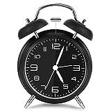 Vegena Sveglia a Doppia Campana, Sveglia da Comodino Segnale d'allarme a Volume Elevato Quarzo Analogico Sveglia Viaggi Vintage 4 Pollici Grande Quadrante Senza Ticchettio con Luce Notturna(Nero)