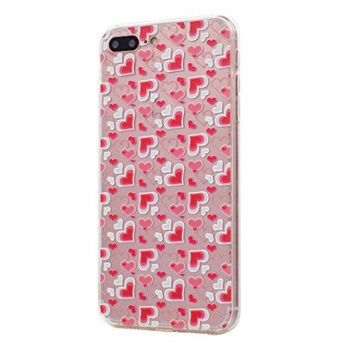 "2 x Coque iPhone 7 Plus Silicone Housse,Etui iPhone 7 Plus Gel Transparente Case Cover Rosa Schleife® 5.5"" Apple iPhone 7 Plus TPU Silicone Gel Souple Case Coque de Protection Portable Smartphone poch 59-style"
