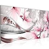 Bilder Blumen Magnolia Wandbild Vlies - Leinwand Bild XXL Format Wandbilder Wohnzimmer Wohnung Deko Kunstdrucke Rosa Grau 1 Teilig - Made IN Germany - Fertig zum Aufhängen 202412a