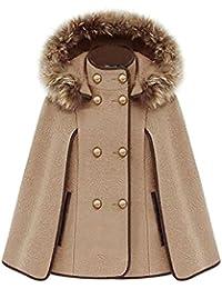 Zicac- Poncho à capuche avec fourrure femme Batwing en laine manteau forme chauve-souris l`hiver