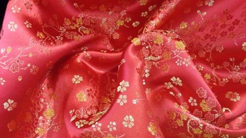 Prestige Stoffe Oriental Chinesische Seide Brokat Blossom Blumen, Hochzeit Kleid Outfit, Brautschmuck Abend Party Kleid Kleid, Jacken Meterware rot (Seide Brokat Jacke)