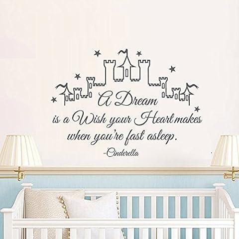Un sogno è un desiderio Your Heart rende quando sei un veloce Sleep- Cinderella Castle vinile adesivo da parete, Vinile, Dark Brown, 41.5