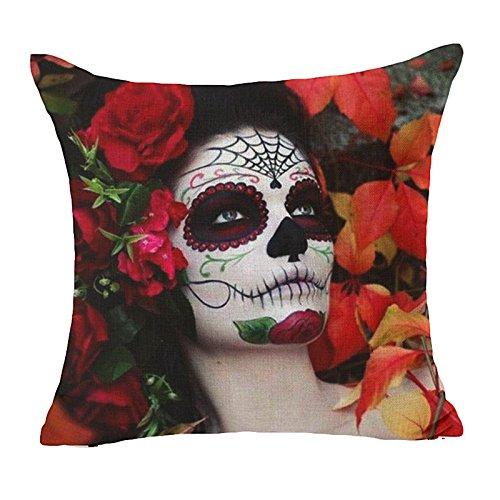 Blumen-rocker Kissen (MAYUAN520 Zierkissen Sugar Skull Kissenbezug Blume Punk Rocker Skull Kissenbezug Für Sofa Home Dekorative Kissen Werfen Kissen Cojines, 4)