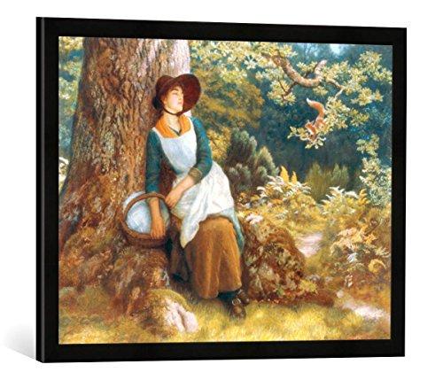 Gerahmtes Bild von Arthur Hughes Afternoon Sleep, Kunstdruck im hochwertigen handgefertigten Bilder-Rahmen, 70x50 cm, Schwarz matt -