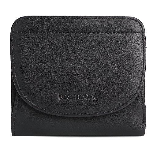 Portemonnaie Damen Klein RFID Schutz mit Münzfach Mini Geldbörse Frauen Portmonee Brieftasche Echtes Leder TEEMZONE(Schwarz) (Kleine Portemonnaie Schwarz Damen Geldbörse)