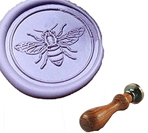 MDLG Custom Cute Bee Flying Monogram Vintage Personalized Picture Letter Logo Wedding Invitation Wax Seal Stamp Rosewood Handle Set