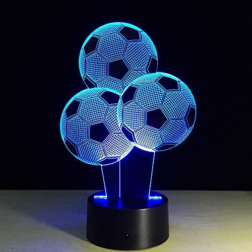 GUANGYING Luz Nocturna Forma De Globo De Fútbol 3D Llevó La Lámpara 7 Colores Cambiando Lámpara De Ilusión 3D Luz De Noche De Fútbol Luz Visual 3D