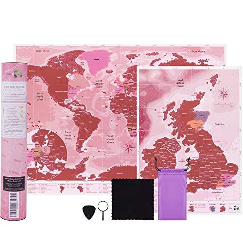 Weltkarte zum Rubbeln Rose Gold - A3 Reisegröße (42 x 29,7cm) + Bonus A4 UK Karte - mit Zubehör-Kit und Geschenk-Tube - Deluxe Weltkarte rubbel