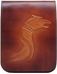 Koson Dacian lobo hecho a mano de piel de vaca italiana auténtica de color marrón Satchel Bolso de hombro Messenger Bag