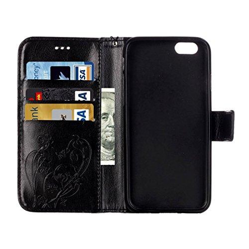 Phone case & Hülle Für iPhone 6 / 6s, Herz-Diamant verkrustete Blumen prägen Horizontale Flip Leder Tasche mit Halter & Card Slots & Wallet & Lanyard ( Color : Pink ) Black