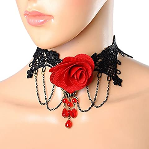 MJARTORIA Rétro Collier Court Dentelle Chaîne Bronze Victorien Gothique Femme Mariage Fleur Perle Rouge Régalable