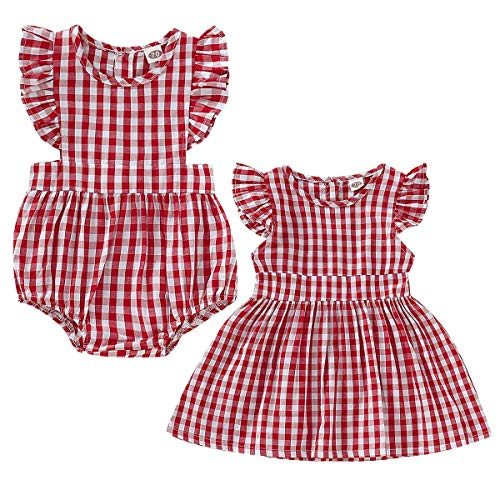 Haokaini Baby-Zwillings-Familien-zusammenpassender Karierter Rüsche-Kleid-Spielanzug, Schwestern-roter Rock Onesie für Säugling (Color : Big Sister, Size : 2-3T) - Getrimmt Rock Anzug