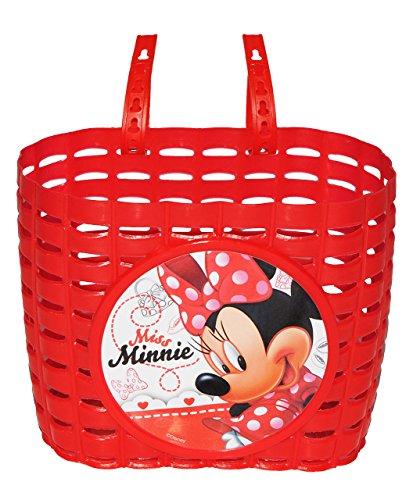 Fahrradkorb / Korb - Disney Minnie Mouse - mit Befestigung für Lenker vorn - Fahrrad Maus Mäuse - rot - universal auch für Roller und Dreirad Laufrad / Kinderfahrrad Kinder - Mädchen Playhouse (Kinder Fahrrad Korb Vorn)