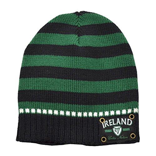 Irischgrün-schwarz gestreifte Strickmütze mit Ireland-Logo