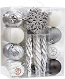 Sea Team 62Pack infrangile Ornamento dell'Albero Natale (Argento, Bianco, Grigio) Decorazione accuratamente Scelto con Il Cofanetto Regalo Riutilizzabile e Portatile