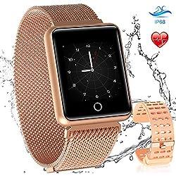 AGPTEK Smartwatch Mujer Reloj Inteligente Deportivo Impermeable Compatible Con Android Y IOs Dorado