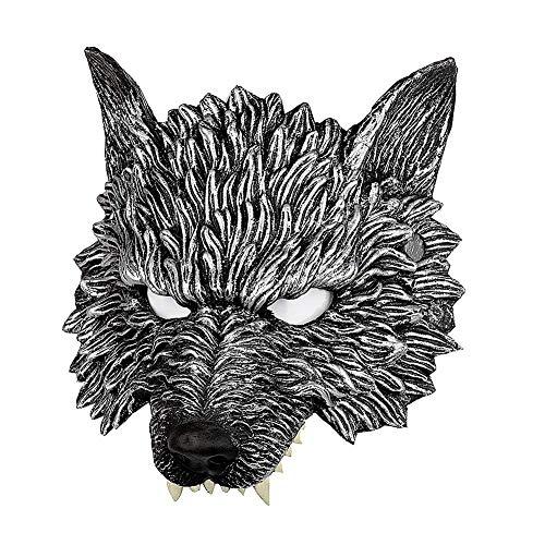 Nacht Kostüm Wolf - Ganquer 3D Wolf Kopf Halloween Maske Nacht Maskerade Kostüm Stütze Party Maske Halloween Scary Horrific Maske - Schwarz, Free Size