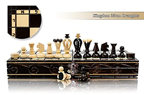 Stunning KINGDOM 36cm DRAUGHTS - Chess and Checkers Wooden Set