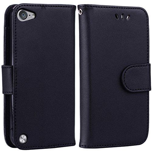 Yunbaoz iPod Touch 5/6 Lederhülle Rein Farbe Wallet Case Hülle Schwarz (Männer Case Wallet Für Ipod 4)