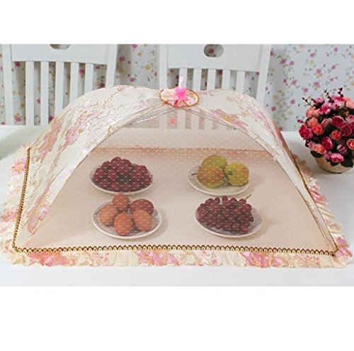 Wgwioo Table Couverture Maille Pop-Up Écran Fruit Snacks Alimentaire Protecteur Rétro Impression Ménage Fête Mariage Rectangulaire Simple Pli Une Capacité De Stockage 5