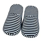 iTemer 1 par Creativo casa Plegable Zapatillas de Viaje a Rayas de algodón Zapatillas de Viaje de...