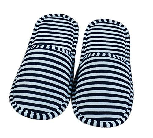 iTemer Indoor-Pantoffel Rutschfeste Hausschuhe Baumwollfasern Streifen Muster Pantoffeln Reise tragbar Kann gefaltet werden Blau