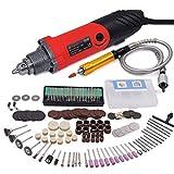 GOXAWEE Herramienta rotativa multifunción 240W Amoladora Recta Electrica con Avanzado Eje flexible y 170 accesorios para bricolaje herramientas