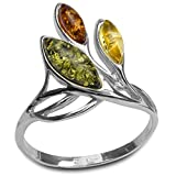 Mehrfarbiger Bernstein Sterling Silber Marquise Ring