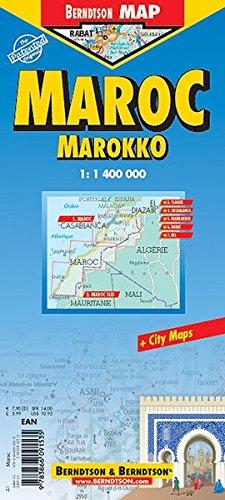 Marokko: 1:1 400 000. Einzelkarten: Morocco 1:1 400 000; South Morocco / West Sahara 1:6 000 000; Tanger 1:10 000; Rabat 1:17 500; Fès 1:15 000; ... administrative & Time Zones (Berndtson Maps)