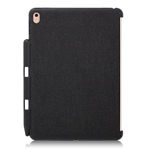 KHOMO iPad Pro 9.7 Zoll Rückseitige Begleiter Hülle Back Cover Case Kompatibel mit Smart Cover, Tastatur, & Apple Pencil - Schwarz Grau - Back Pen Pro 9.7