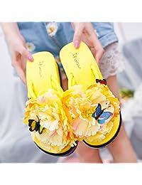 Parte inferior blanda antideslizante, flor zapatillas, Damas de verano, cool zapatillas, moda calzado de playa, chanclas de playa y piscina inferior grueso amarillo,39