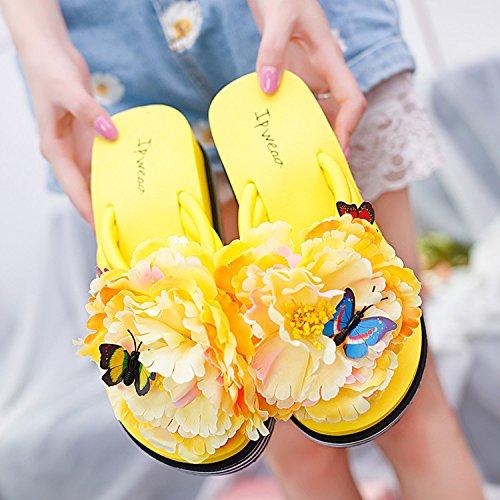 LGK&FA Antislittamento Fondo Morbido Fiore Pantofole Estate Donna Cool Pantofole Moda Scarpe Da Spiaggia Spiaggia Flip Flop E Fondo Spesso All'Aperto 36 Giallo 37 yellow