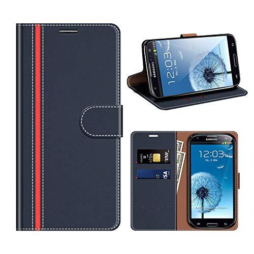 coodio Custodia Samsung Galaxy S3, Custodia in Pelle Rugged Samsung Galaxy S3, Custodia Portafoglio Cover Porta Carte Chiusura Magnetica per Samsung Galaxy S3 / S3 Neo, Blu Scuro/Rosso