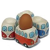 Camper Bus Eierbecher - aus Keramik, bunt sortiert, im 4er Set.