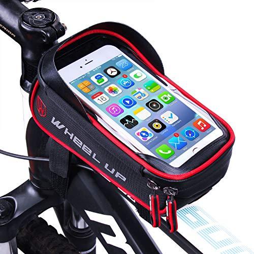Bolsa Bicicleta Cuadro - WheelUp 6' Soporte Movil Bicicleta - Impermeable Bolsa Bici Manillar de Teléfono Celular con Pantalla Táctil Alforjas para Bicicleta Montaña o Carretera (Negro y Rojo)