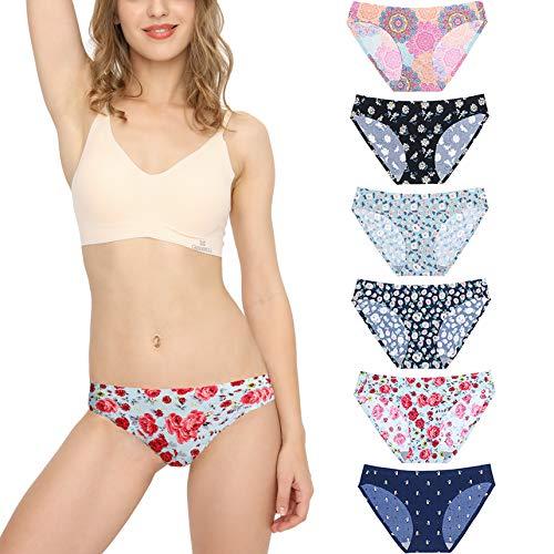 Bragas Mujer sin Costuras Invisible Señoras Braguitas Low Rise Suave Ligera Bikini Braguitas, Pack de 6 Flor S