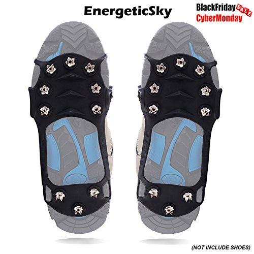 Schuhspikes Mit 10 Noppen, Schuhkralle,Kieselgel Anti Rutsch Eisspikes für Den Stiefel, Steigeisen - By EnergeticSky™ (XL, Schwarz)