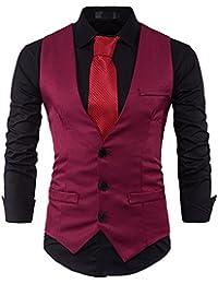 Dihope Homme Vintage Fashion Gilet de Costume Casual Classique Mariage  Business Veste sans Manche Slim Fit 0f7ada2d48f