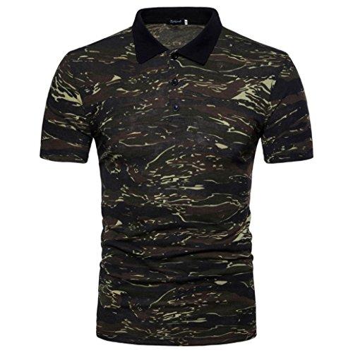 ❤️Tops Blouse Homme T-shirt, Amlaiworld Polo Homme Impression Camouflage Tops T-shirt à col Tournant Chemisier Blouse (S, Gris)