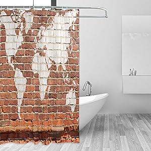 JSTEL Cortina de ducha de pared antigua, diseño de mapamundi de graffiti, resistente al moho y resistente al agua, tejido de poliéster, 182,8 x 182,8 cm, para el hogar, extra larga, para baño, decorativa, cortinas de baño con forro de 12 H