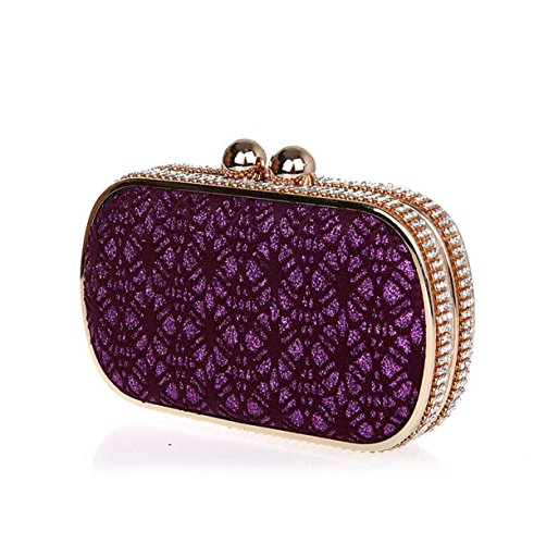 GSHGA Kleider Strass Abendtaschen Handtaschen Spitze Umhängetaschen Clutch Bags,Gold Purple