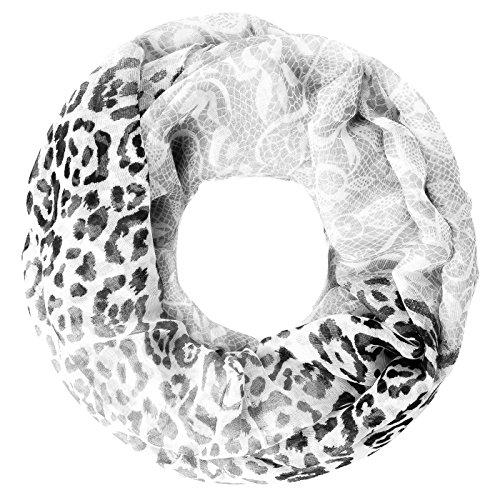 leichter Damen XXL Schlauchschal Infinity Loop Schal Rundschal Blumen Leoparden-Muster Leo-Print Muster Autiga® grau-schwarz