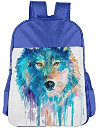Watercolor Wolf Face Children School Backpack Carry Bag For Kids Boy Girls